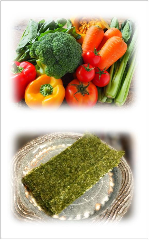 ビタミンbが多い緑黄色野菜と海苔