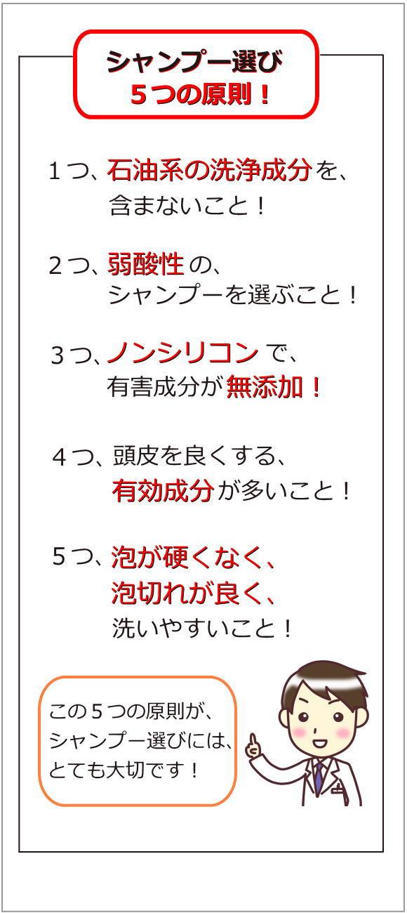 シャンプーの選び5つの原則